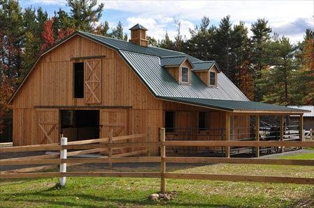Equestrian barn styles welcome to horse properties blog for Gambrel roof barn kits